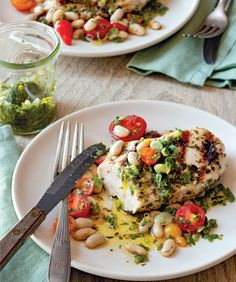 Grilled Chicken Breasts With Salsa Verde and White Beans