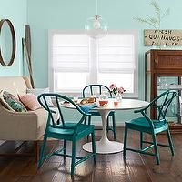 Country Living - kitchens - Benjamin Moore - Spring Mint - turquoise dining room, turquoise blue dining room, turquoise blue paint, turquois...