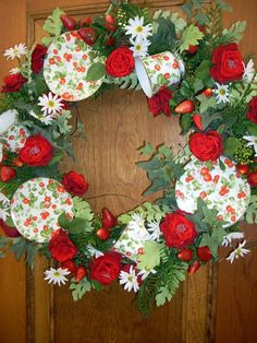 Strawberries and Tea Cup Wreath for Mothers Day