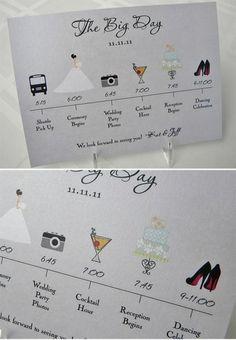 Timeline-Programme - könnte für alle Gäste oder mehr spezifische Details nur für die Hochzeitsgesellschaft und engsten Familienkreis sein