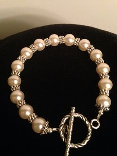 Ivory Swarovski Pearls silver spacers sterling silver toggle bracelet. Bridal/wedding/Mother's Day/mother of Bride/everyday Bracelet on Etsy, $25.00