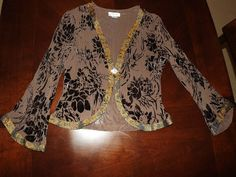 Women's ANIS A 100% Silk Top Brown & Black Silk Blouse Sz Small long Sleeve $45.00