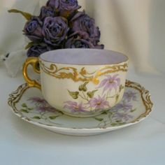 Antique Austrian hand painted coffee cup and saucer
