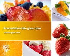 Fruit Dishes PowerPoint Template is a fresh fruits PowerPoint template with dishes background and fruits like orange and strawberries covered with cream #PowerPoint #dishes #ppt #fresh