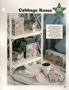 Cabbage Roses Plastic Canvas Patterns. $4.50, via Etsy.