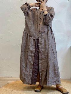 Women's large size dress, Loose Fitting long dresses, Striped shirt dress, linen kaftan, Linen dresses with pockets