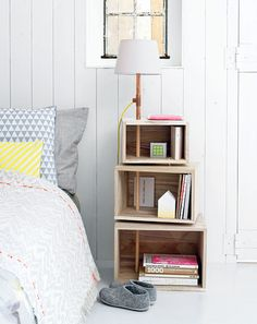 """thisoldapt:  This DIY bedside table and lamp would make a nice replacement for the stacks of books on your floor. (And by """"your"""" I mean my.) -EL Note from ts: GREAT find, EL! Isn't createforless the jam, for real for real? LOVE them! createforless:  Boxes with Lighting via 101 Woonideeen"""