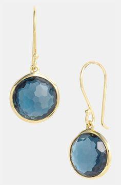 Ippolita Rock Candy Mini Lollipop 18k Gold Drop Earrings Yellow Gold Blue Topaz Ippolita