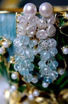 Aquamarin Wasserfall Traum Ohrringe Keshi Perlen Süßwasserperlen