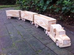 Road Train Wooden Toy Truck by MyFathersHandsLLC on Etsy                                                                                                                                                                                 More