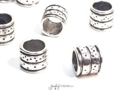 Extra Large Hole Beads, Barrell Beads, Metal Beads, Antique Silver Pewter, 9x9mm, 7mm Hole, Lead Free, Lot Size 8 to 30, #1306 BH