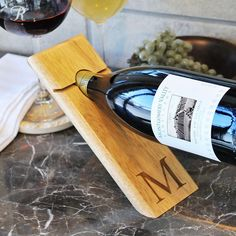 Cathy's Concepts Monogram Counter Balance Wine Bottle Holder, White