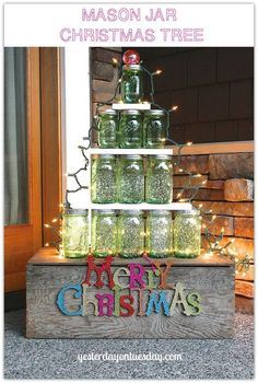 How to create a festive Christmas tree using green Heritage Mason Jars. Description from hometalk.com. I searched for this on bing.com/images