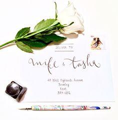 Modern Wedding Calligraphy Handwritten Envelopes in Black Dip Ink by emmahcalligraphy on Etsy