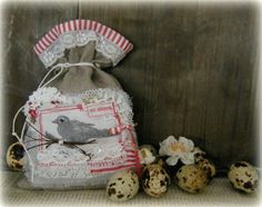 .Small bag. fabric, lace, scraps. bird stamped on fabric.  Made for a swap