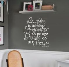 Tinkerbell quote DREAMS are FOREVER kids Room by wallstory on Etsy, $32.00