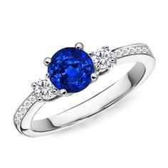 Angara Prong Set Round Sapphire Curved Shank Twisted Ring in Platinum haBhP