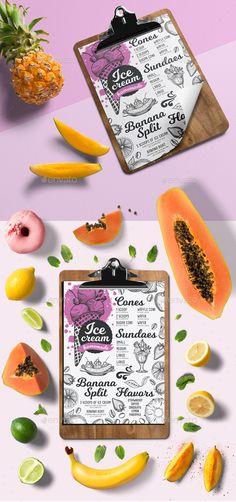 Ice Cream Menu — Photoshop PSD #restaurant #invite • Download ➝ https://graphicriver.net/item/ice-cream-menu/20048888?ref=pxcr