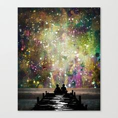 The Universe Was Ours stretched canvas print mixed by Jenndalyn