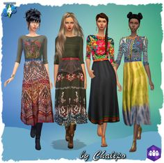 Folklore dresses by Chalipo at All 4 Sims via Sims 4 Updates