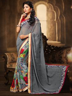 1739c5672a G3 fashions Grey pink georgette printed saree Products code: G3-WSA2272  Price: ₹ 2350.00