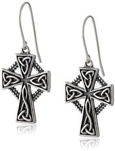 Sterling Silver Oxidized Celtic Trinity Cross Dangle Earrings *** Read more reviews of the product by visiting the link on the image.