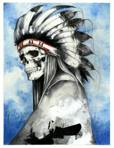 Skull Indian painting - Skullspiration.com - skull designs, art