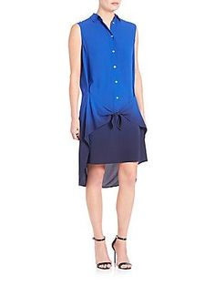 Foundrae Ombre Shirtdress - Cobalt Navy - Size