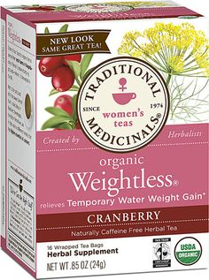 Traditional Medicinals Organic Weightless® Herbal Tea Cranberry -- 16 Tea Bags - Vitacost