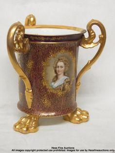 Signed German Dresden Porcelain Hand Enamel Gilt Jardinière Crowned H Mark