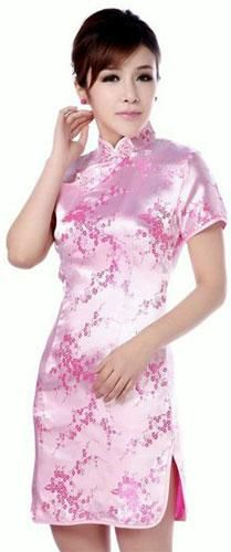 Pink Cherry Blossom Knee-Length Qipao :: Qipao Dresses #ad