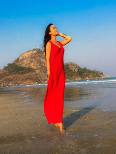 Red mangas longo maxi vestido todo o tamanho por Onumadress no Etsy