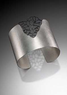"Cuff | Beverly Tadeu. ""Landscape"". Sterling and oxidized sterling silver"