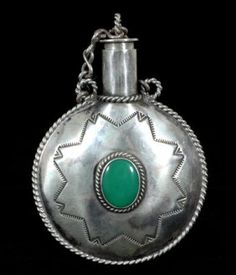 Navajo Heavy Silver and Turquoise Tobacco Canteen