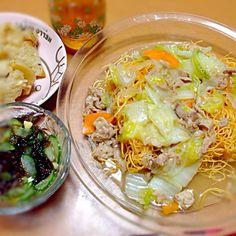 2013.09.24 - 2件のもぐもぐ - 皿うどん、胡瓜ともずく酢、中華ちまき by きよちゃん