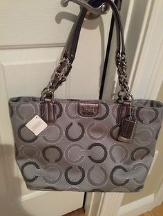 coach pink and gray purse aujs  Coach Madison Dotted Op Art Tote 21210