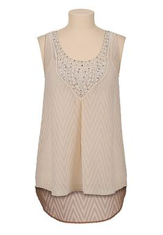 High-low Textured chiffon tank with sequins (original price, $29) available at #Maurices