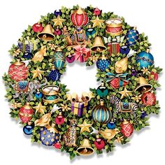 """Perennial wreath adorned with colorful, classic ornaments as well as exotic animals in gilded attire. Printed in pigment varnished onto a flat wood composite board. 17 ½"""" d. with hanger on back; extends ½"""" from wall."""