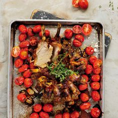 Slow-roasted pork crown with baby tomatoes - MyKitchen