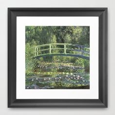 Vintage Monet Bridge  Framed Art Print by Pen Creations - $36.00