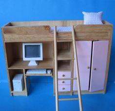 Puppenhaus Kinderzimmer Etagenbett  Hochbett Schrankbett Puppenhausmöbel Miniatur 1:12 für ein tolles Puppenhaus. Für Jungen blau und Mädchen rosa.