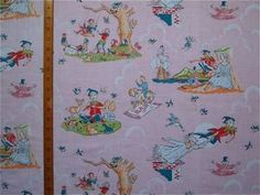 VINTAGE 1950s COTTON FABRIC - PETER PAN