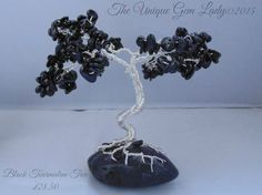 Black Tourmaline Gemstone Wire Wrapped Bonsai Tree Sculpture Hand Crafted & One Of A Kind by TheUniqueGemLady on Etsy