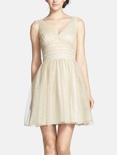 cf4207d99f2 Aidan Mattox Ruched Metallic Tulle Fit   Flare Dress