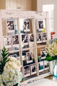 an old window turned into a photo display is a great idea for crafters