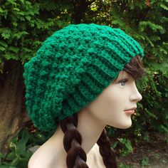 Green Slouchy Crochet Hat  Womens Slouch by ColorMyWorldCrochet
