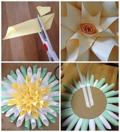 Simple & free DIY spring or Easter wreath. Giant paper flower. 3D blooming flower décor. Popular with the Poplins