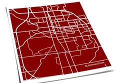 Bloomington Indiana College Art City Map Print / by jennasuemaps, $18.00