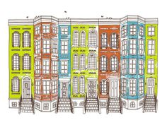 Row Houses -Limited edition screen print, 8x10.