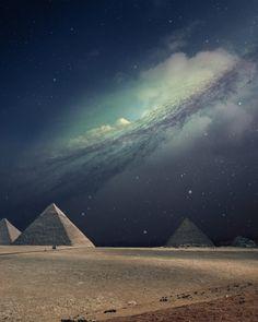 Pyramids and milky way